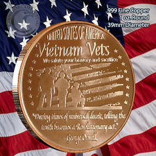 Vietnam Vets 1 oz .999 Copper Round Limited and Rare - Not Minted Anymore