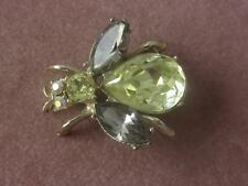 VINTAGE FOIL BACKED RHINESTONE BEE PIN W/ AB RHINESTONE EYES