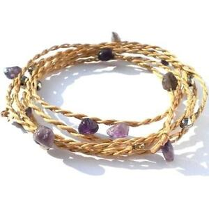 REAL AMETHYST HANDMADE WRAP AROUND BRACELET ANKLET, STRAW AND NATURAL RAW STONE