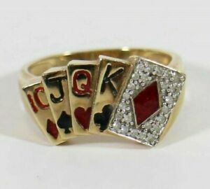 2.50Ct White Sim Diamond Men's Diamond Poker Card Ring 14K Yellow Gold Finish