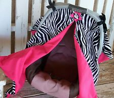 Zebra and hot pink cotton canopy cover for infant car seat