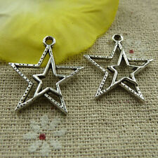 free ship 200 pieces tibetan silver star charms 23x20mm #3964