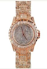 Rose Gold Iced out Paved Fashion Stainless Steel Bling Hip Hop Rap Quartz Watch