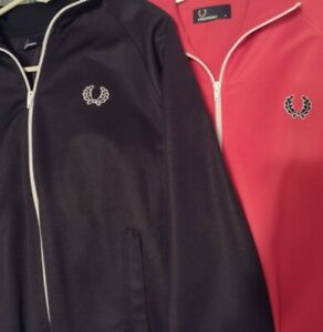 Two Fred Perry Track Jackets Excellent Condition Red & Black Medium