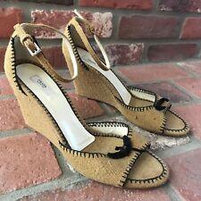 9618e84da7 Prada Canvas Open-Toe Wedge Women's Size 38.5 US 8.5 with Black Bow Ankle  Straps