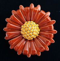 "Enamel Chrysanthemum Flower Brooch Pin Orange Yellow Fall Autumn 1 3/4"" Vintage"