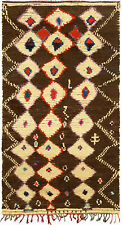 Tribal Moroccan Rug in Cream, Brown, Pink, Red, and Blue BB5137