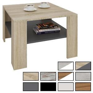 Table basse de salon carrée avec étagère espace de rangement ouvert en mélaminé