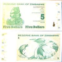 """BILLETE """"  ZIMBABWE   5  DOLARES   AÑO  2009     PLANCHA    UNC"""