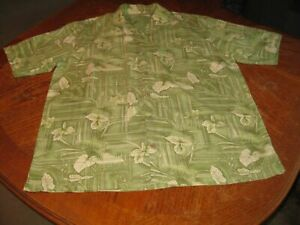 Tommy Bahama Men's Silk Short Sleeve Button Down Shirt Green Floral Large L