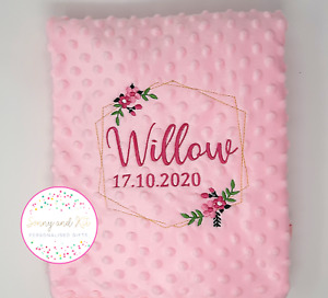 Personalised Baby Blanket, Geometric Frame, Pink Flowers, Embroidered Pink Gold
