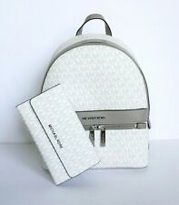 Michael Kors Kenly Medium Backpack Large Trifold Wallet Set MK White Grey