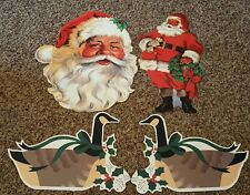 Lot of 4 Vintage Paper Christmas Decorations Santa Claus Goose Geese