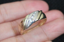 New Kay Jewelers 10K Sz 10 1/8ct Diamond 2 Tone Gold 6.7g Mens Wedding Band Ring