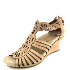 Earthies Caradonna Taupe Leather Wedge Sandals Women's Size 10 M*