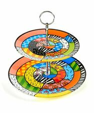 ROMERO BRITTO GLASS 2-TIER CAKE PLATE ** NEW ** GIFT BOX