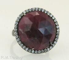 Affordable Fashion 925 Genuine Rose Cut Ruby & Diamond Cut White Sapphire Ring