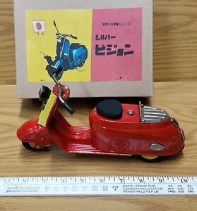 Vintage tin toy friction Pigion scooter Bandai Japan Working condition