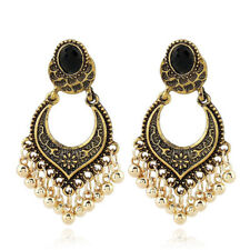 Vintage Woman Indian Antique Gold Silver Plated Earrings Bead Drop Charm Jewelry