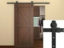 6Ft Black Country Barn Wood Steel Sliding Door Hardware Closet Set Antique Style