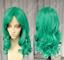 Sailor Moon Sailor Neptune Long Green Curly Cosplay Party Hair Wig