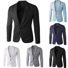Mens Business Formal Work Blazer Coat Jacket Slim One Button Suit Tops Outwear