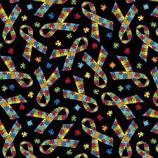 Jigsaw Ribbons Cancer by Baum Textile Mills Polar Fleece Fabric by the yard