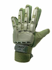 Valken V-Tac Full Finger Hard Back Paintball / Airsoft Gloves Olive Xl New