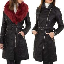 Cappotto donna giacca giubbino invernale trench in ecopelle con pelliccia lungo