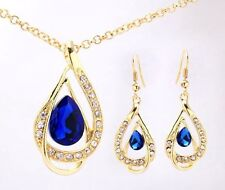 Gold Plated Dark Blue Crystal Earring & Necklace Set weddings, party, occassions