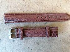 OMEGA SWISS Stahl Dornschließe +  Echtleder Eidechse Armband braun 18 mm Band