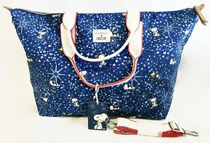 Cath Kidston Snoopy Peanuts Travel Bag Overnight Crossbody Handbag Blue Stars