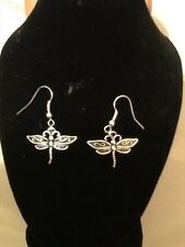 Dragon fly hook earrings silver plated