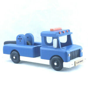 """Vtg LARGE 16"""" Wood Model Blue TOW TRUCK Toy Maine State Prison Art Sculpture"""