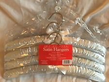 SET OF 4 Clothing Hangers Light Blue Satin & White Bows Padded Adult Size *NIP*