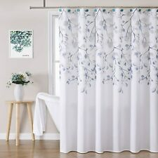 Navy Blue Leaves Vines Boho French Country Farmhouse Fabric Shower Curtain