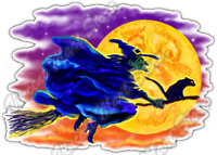 "Witch Flight Halloween Full Moon Black Cat Car Bumper Vinyl Sticker Decal 5""X4"""
