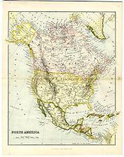1868 Antique Map NORTH AMERICA British Possessions Canada USA Mexico CUBA Border