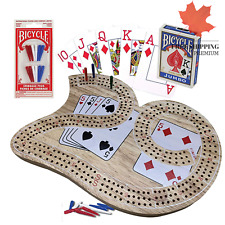 Cribbage Board Game Set 29 with Bicycle Playing Cards and Extra Cribbage Pegs