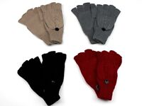 Womens Fingerless Gloves Mittens with Cover, Wrist Cover