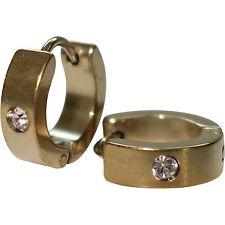 Gold Stainless Steel Crystal Hoop Huggie Stud Earrings Mens Womens Girls Jewelry