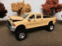 1/64 Custom Lifted DODGE RAM 2500, TRICKED OUT, SWEET, Farm Toy Truck, Yellow