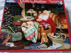 White Mountain 1000 Pc Puzzle Santa's Naptime # 1487 Christmas Games Santa