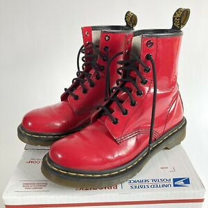 Dr Martens Women's Patent Leather Hot Pink Mid Combat Boots - SIZE 8 (39 EU)