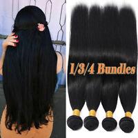 Straight Brazilian 100% Virgin Human Hair Extensions Weave Weft 3 Bundles US P50