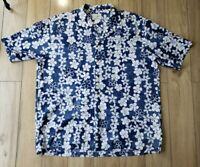 HO ALOHA Floral Hawaiian Shirt  XL blue White Hibiscus Made in Hawii luau