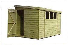 10x4 Garden Shed Shiplap Pent Roof Pressure Treated Door Left End 3 Low Windows