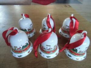 Weihnachtsgeschirr - 6 große Weihnachtsglocken - Ahorn