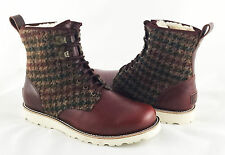 UGG Australia Hannen Cordovan Brown Leather & Houndstooth Wool Boots Sz 9 *NEW*
