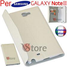 Cover Custodia Flip Per Samsung Galaxy Note 2 N7100 Porta Tessere + Pellicola B